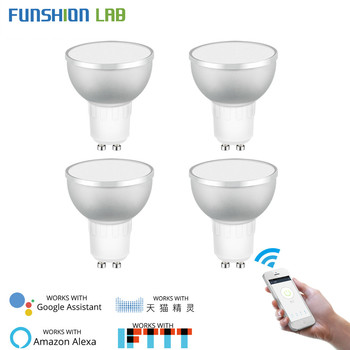 WiFi Smart LED Light Bulb 2700-6500k RGBCW Warm White Daylight Multicolor 50W Equivalent Work with Alexa Google Home GU10 4 Pack