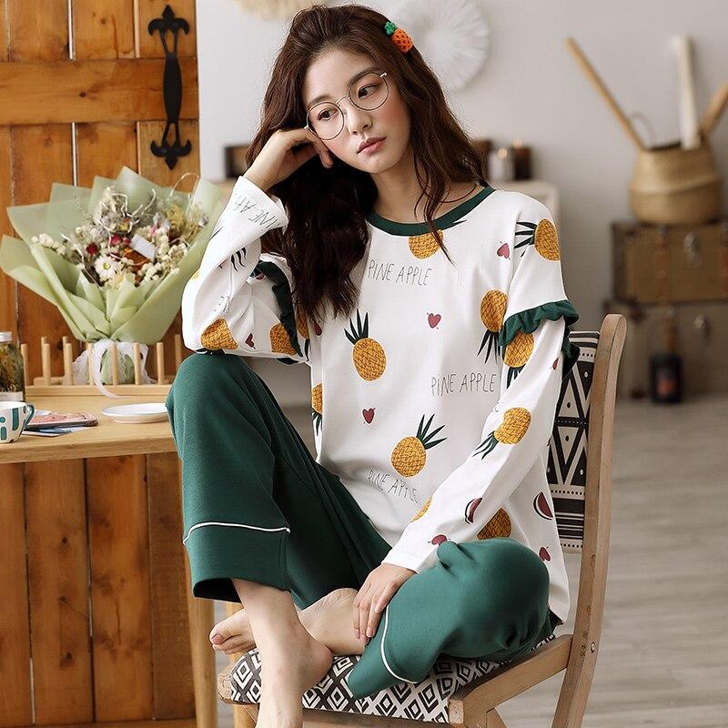 Image 2 - Woman Pajamas Sets Fashion Pajamas Autumn Winter Women Cotton Pajama Sets Cartoon Home Wear Suits Long Sleeves Pajamas for FemalPajama Sets   -