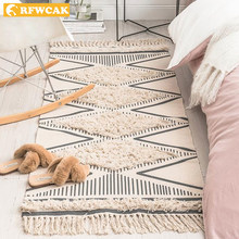 Morocco Cotton Hand Woven Printed Area Rugs Tufted Tassels Throw Rug Machine Washable Bath Mat Doormat Carpet Tapete Para Sala(China)
