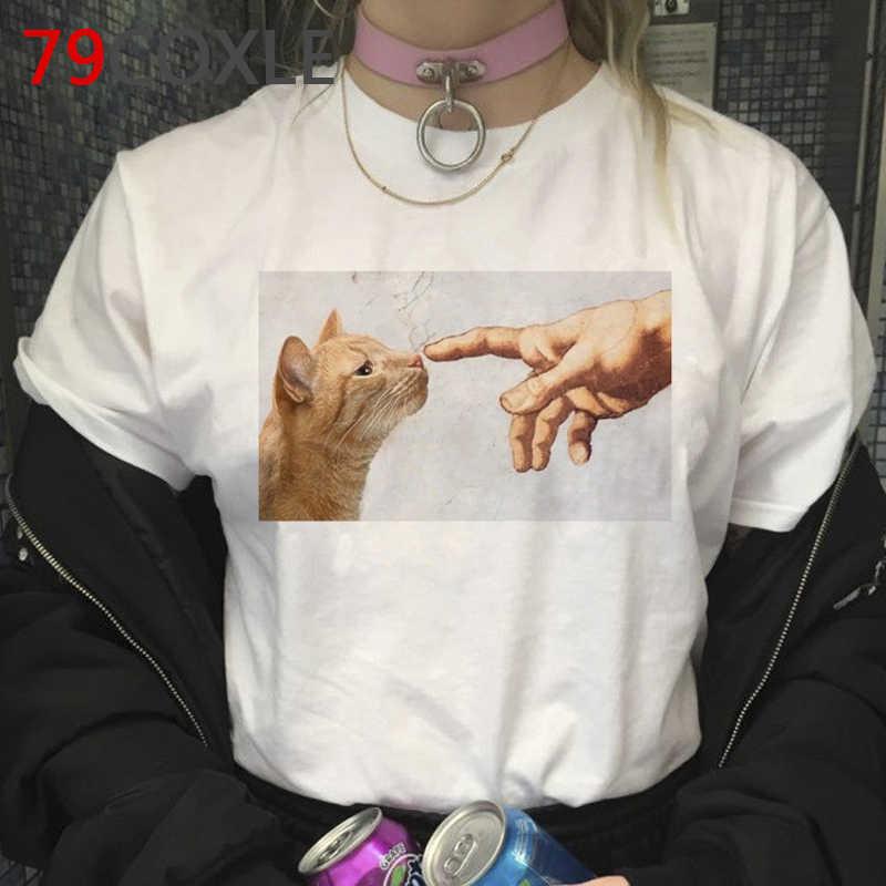 Graphique de chat Drôle De Bande Dessinée T-shirt Femmes/hommes Harajuku 90s Grunge T-shirt Mode Esthétique Tshirt Kawaii top T-shirts Femelle/mâle