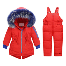 red baby snowsuit for girl clothes filling with 90% White Duck Down ski suit rich blue fur 1-3 years girls clothing set цена