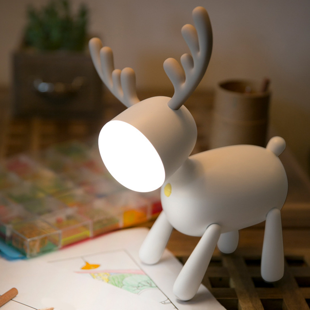 Usb Rechargeable Deer Led Night Lights Silicone Animal Cartoon Dimmable Desk Lamp For Children Kids Baby Gift Bedside Bedroom 1W