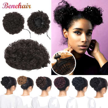 BENEHAIR Curly Hair Bun Drawstring Ponytail Updo Chignon Synthetic Hairpiece Fake Hair Extension Hair Bun For Black Women фото