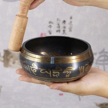 Литая поющая чаша (5 металлов/8-17,5 см) с барельефом Ваджра + колотушка