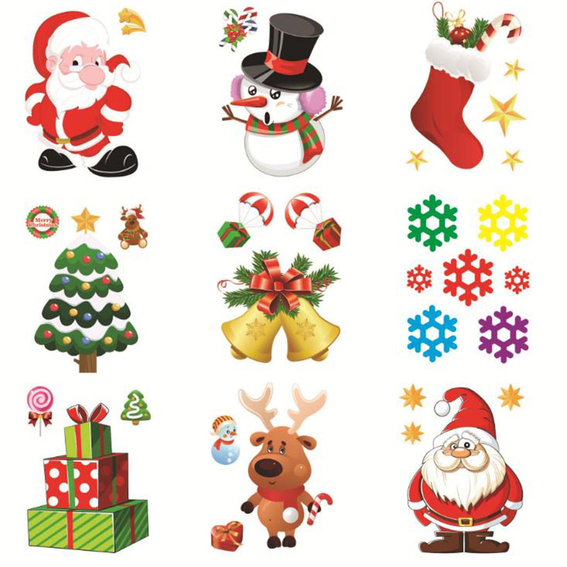 Christmas Window Sticker Santa Claus / Snowman Elk Glass Decorations Home Refrigerator Stickers