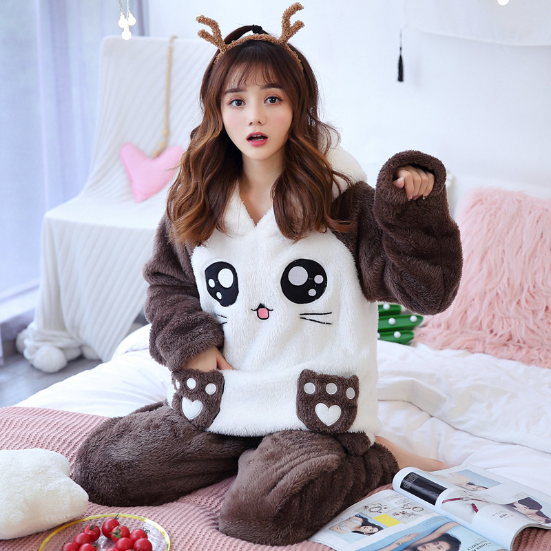 Thick Coral Fleece Pajamas Women 2020 Autumn And Winter Long-sleeved Cartoon Cat Comfort Flange Plush Plus Size Home Service