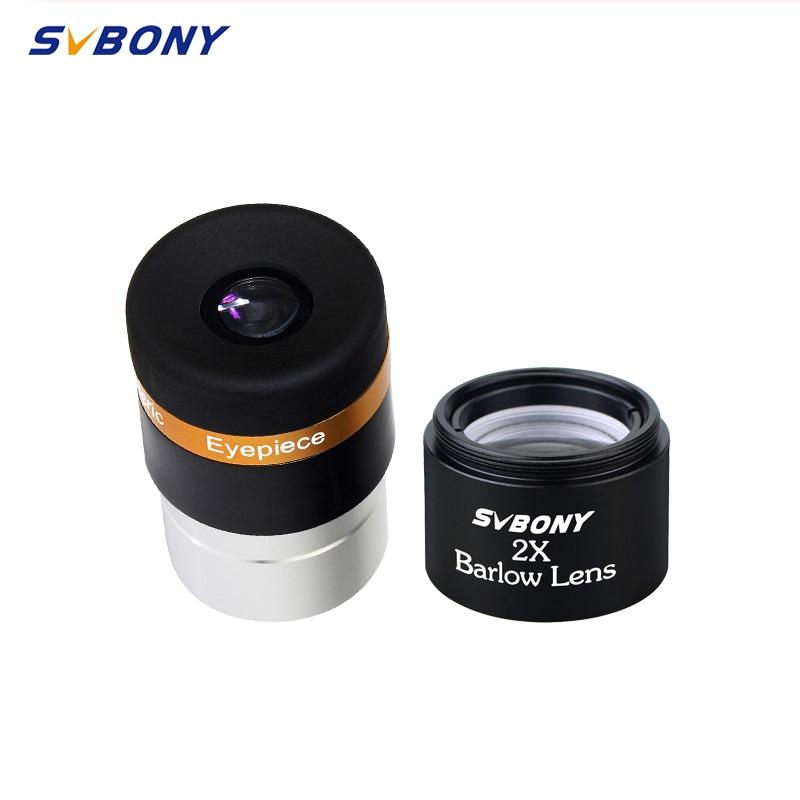 SVBONY 1.25'' Aspheric Eyepiece Telescope HD Wide Angle 62 Deg Eyepiece Lens 10mm Eyepiece+ 2x Barlow Lens For Astronomy Telesco