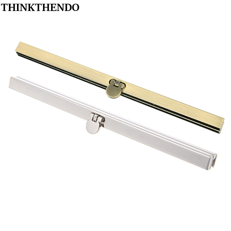 THINKTHENDO 1pc Purse Wallet Frame Bar Edge Strip Clasp 19cm Metal Openable Edge Replacement