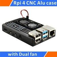 Ahududu Pi 4 Alüminyum Kasa Çift Akıllı Sıcaklık Kontrol Fanı Siyah