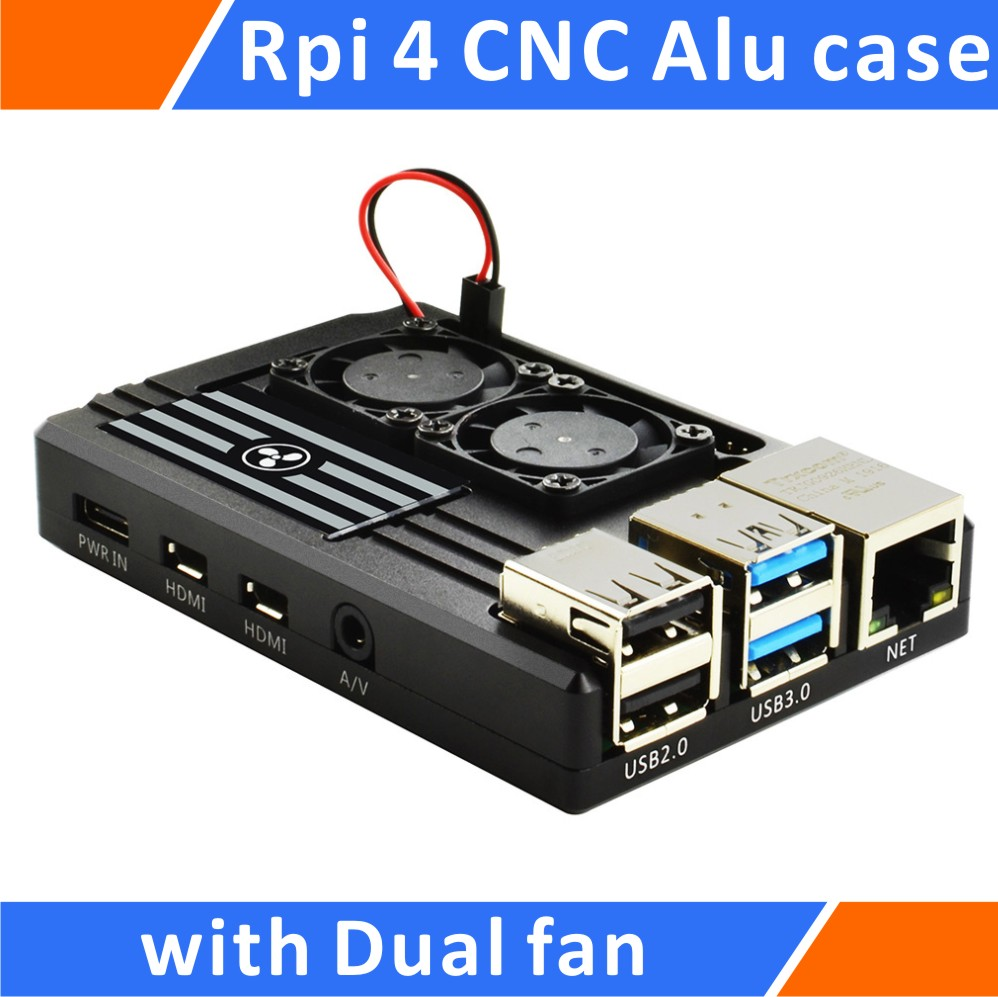 Raspberry Pi 4 Aluminum Case With Dual Intelligent Temperature Control Fan Black