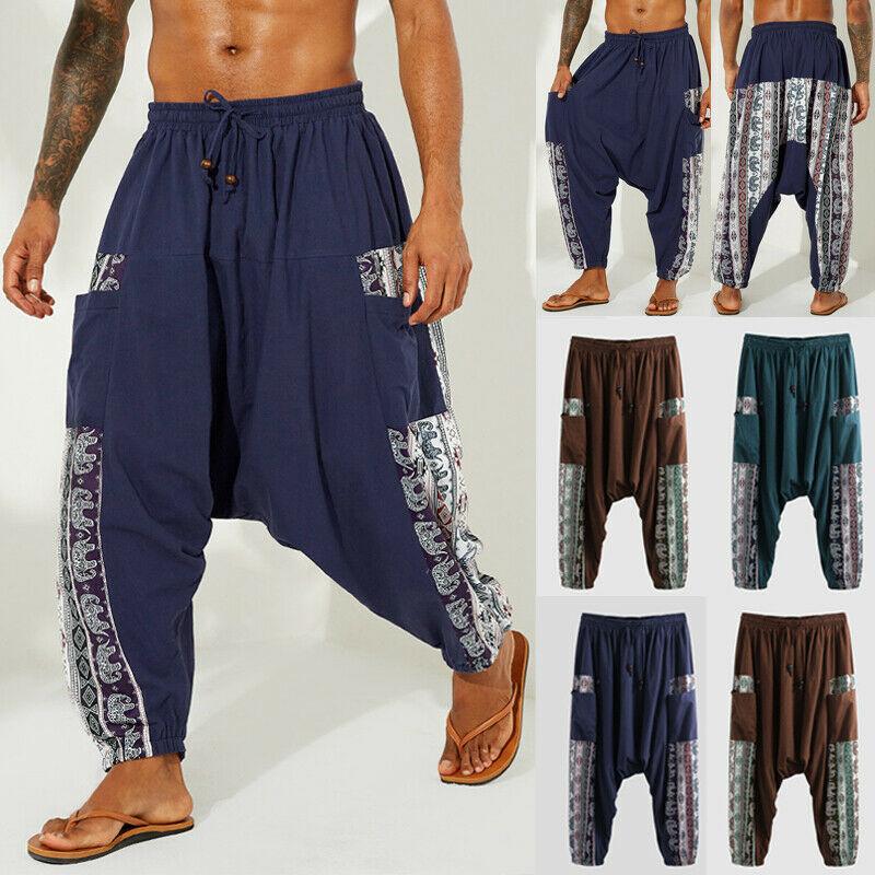 HOT Fashion New Men's Ethnic Boho Wide Leg Pants Casual Loose Lantern Pants Yoga Casual Collage Cultural Sports Activities Pants