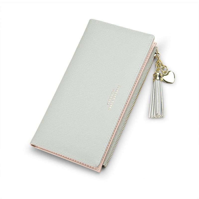Женский кошелек с кисточками, длинный милый кожаный кошелек с кисточками, женские кошельки на молнии, Женский кошелек, клатч, Cartera Mujer - Цвет: Gray