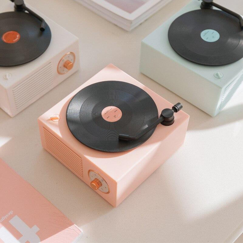Retro bluetooth alto-falante vinil record player de áudio bluetooth sem fio mini portátil pequeno canhão multifuncional