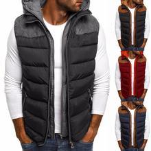 Winter Vest Men Jacket Down Vest Coat Mens Winter Sleeveless Jacket Men Down Vest Windproof Hooded Coats Male Down Waistcoat