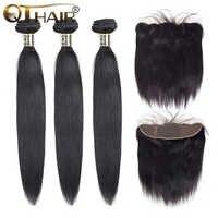 Paquets de cheveux droits brésiliens avec cheveux humains frontaux 3 paquets avec fermeture non-remy QThair 13*4 dentelle frontale avec cheveux de bébé