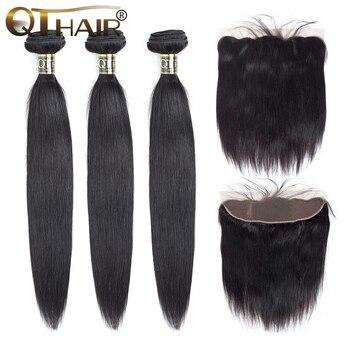Бразильские прямые волосы в пучках с фронтальной связью, 3 пучка с закрыванием, не remy QThair 13х4, кружевные фронтальные волосы для детей