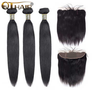 Brazilian Straight Hair Bundles With Frontal Human Hair 3 Bundles With Closure Non-remy QThair 13*4 Lace Frontal With Baby Hair - DISCOUNT ITEM  54 OFF Hair Extensions & Wigs