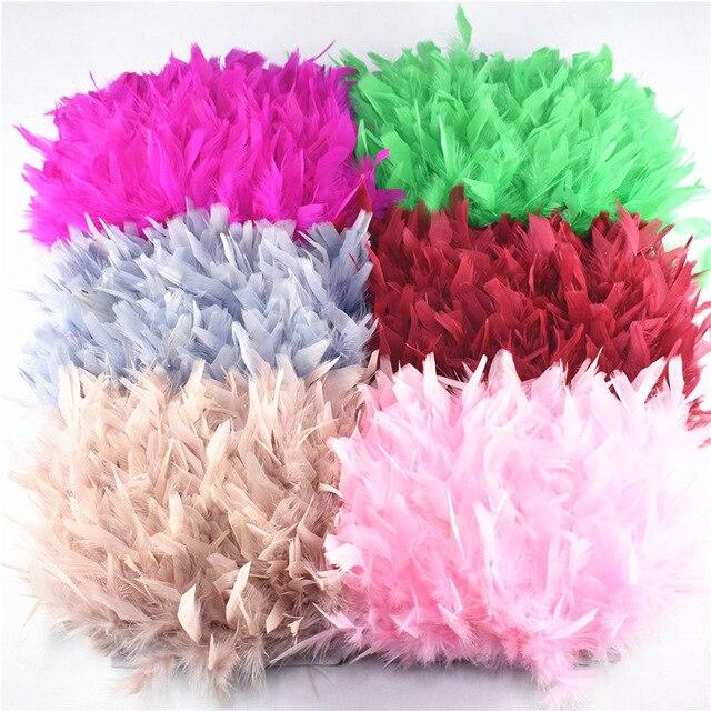 Volante de flecos de plumas de pavo, plumas marabú de 4 6 pulgadas, recorte de falda, adornos de vestido, plumas de cinta para manualidades, 10 metros/lote, venta al por mayor
