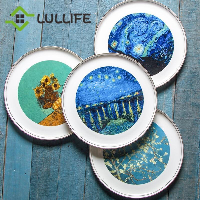 Van Gogh os chine assiette Art peinture chargeur plaque luxe or incrustation plats 11 pouces plus grand plateau d'affichage décor à la maison plaque
