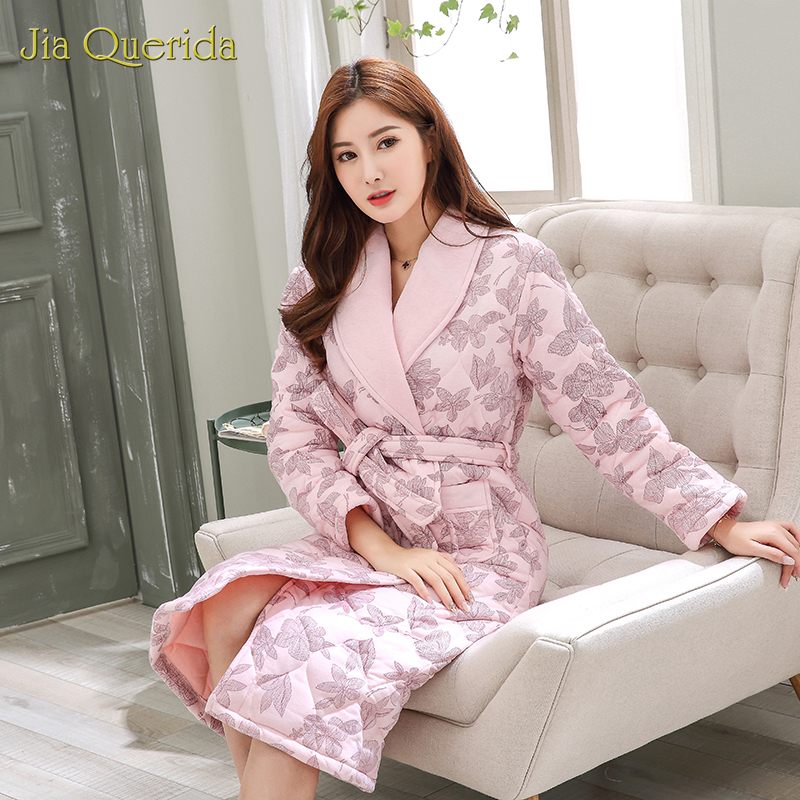 New Woman Bathrobe Plus Size Robe Housecoat Winter Thick Cotton Pink Dressing Gown Floral Printing Belted 3 Layers Cotton Kimono