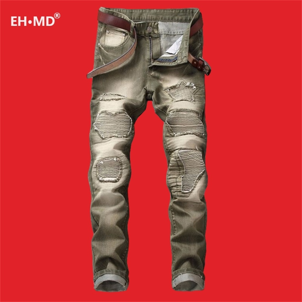 EH·MD® Pleated Hole Patch Army Green  Jeans Men's Cotton Soft Small Straight High Street Personalized Slim Pants Motorcycle New