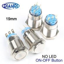 19mm interruptor de botão liso/redondo alto momentâneo/travamento nickel chapeado latão interruptores 3/6 pino terminal 1no1nc/2no2nc nenhum diodo emissor de luz