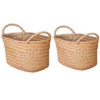 2 Pcs Wicker Weaving Storage Basket for Kitchen Handmade Fruit Dish Rattan Picnic Food Bread Loaf Sundries Neatening Container C|Storage Baskets| |  -