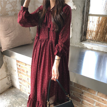 Women Chiffon Dress 2020 Spring Summer New Fashion Female Long Sleeve Vintage Printed Dot Lace Up Loose Casual A-line Dresses 2019 spring new women half sleeve loose flavour black dress long summer vestido korean fashion outfit o neck big sale costume