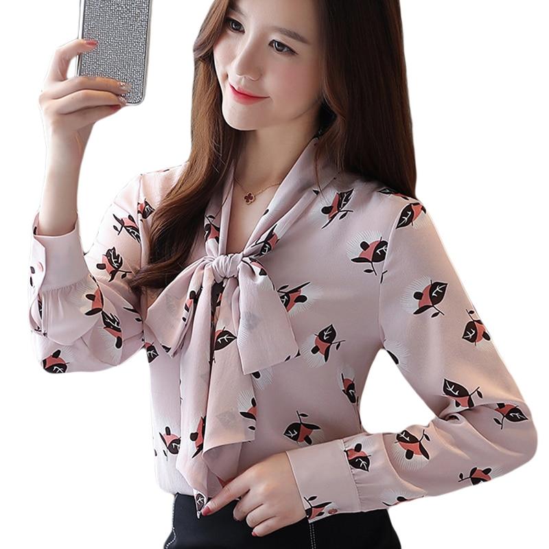 Pink Autumn 2019 New Chiffon Shirt Camisas mujer V neck Bow printed Shirt Women 39 s Long Sleeve Chiffon Office Women shirt 937A in Blouses amp Shirts from Women 39 s Clothing