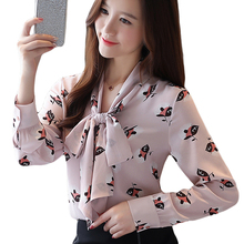 Pink Autumn 2019 New Chiffon Shirt Camisas mujer V-neck Bow printed Womens Long Sleeve Office Women shirt 937A