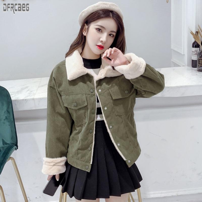 2019 New Winter Autumn Winter Thicken Women's Corduroy   Basic     Jacket   Long Sleeve Elegant Coat Khaki Lambswool Bomber   Jacket   Femme