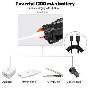 Image 5 - 5000LM פנס נייד רב עוצמה LED USB נטענת XPE + COB פנס מובנה סוללה עמיד למים ראש לפיד ראש מנורה