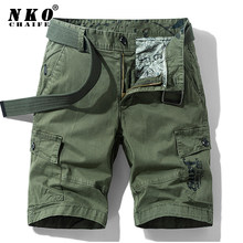 CHAIFENKO Men Summer Cotton Military Shorts 2021 New High Quality Casual Cargo Short Pants Loose Pocket Army Tactical Shorts Men