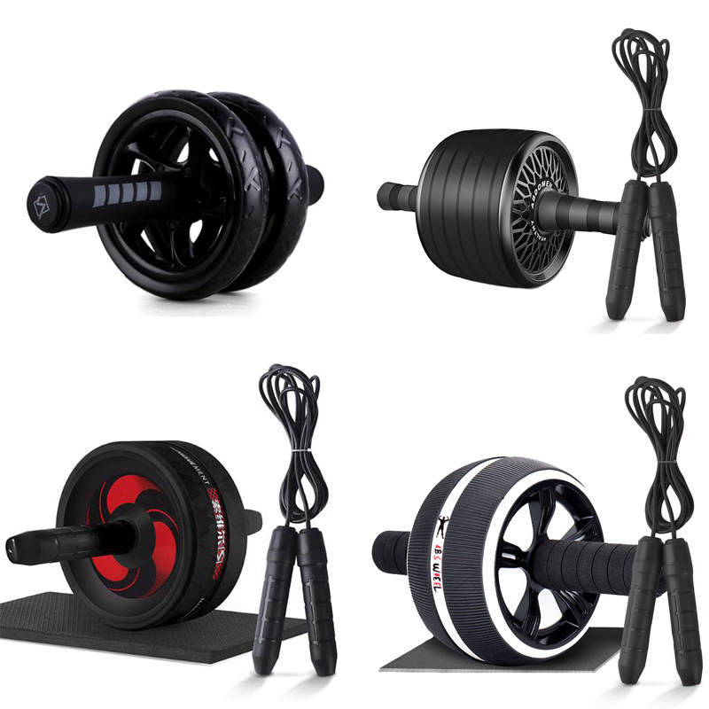 Black Fashion Ab Roller & Jump Rope No Noise Abdominal Wheel Ab Roller With Mat For Arm Waist Leg Exercise Gym Fitness Equipment