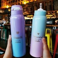 מכירה לוהטת 480 ml מבודד תרמיקות חלב & קפה Cup18/8 נירוסטה תרמוס קש מים בקבוק שיפוע ספורט ואקום בקבוק