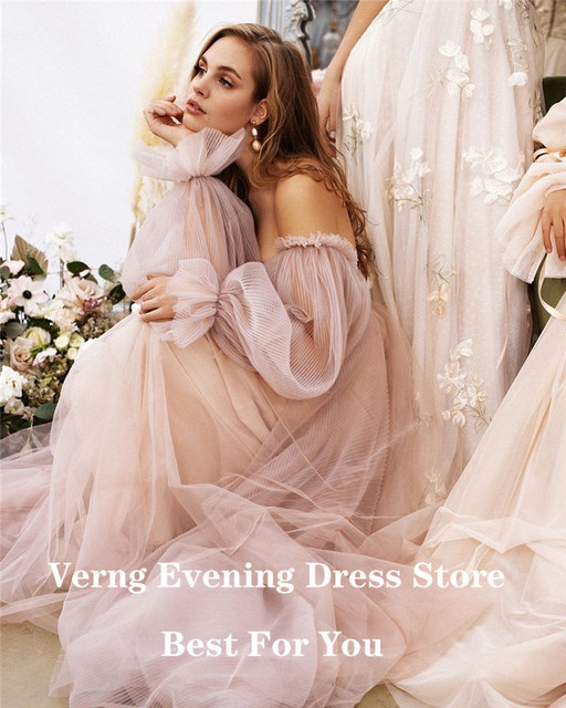 Verngo Dusty Pink Long Prom Dresses 2021 Off the Shoulder Sweetheart Tulle Romantic Elegant Princess Prom Party Gown Custom 3