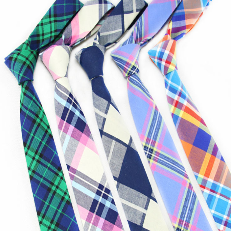 New Men Ties 6cm Cotton Plaid Arrow Corbatas Para Hombre Korean Business Casual Narrow Handsome Tie