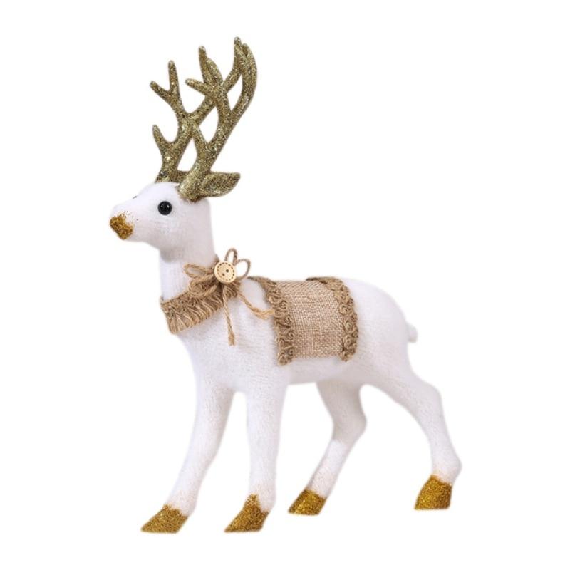 Home Resin Holiday Figurine Decorative Christmas Deer Tabletop Statue Decor Set of 2