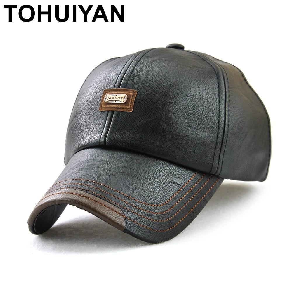 TOHUIYAN 2020 Vintage Leather Cap For Men Fall Winter Casquette Baseball Caps Casual Chapeau Dad Hat Bone Masculino Gorra Hombre