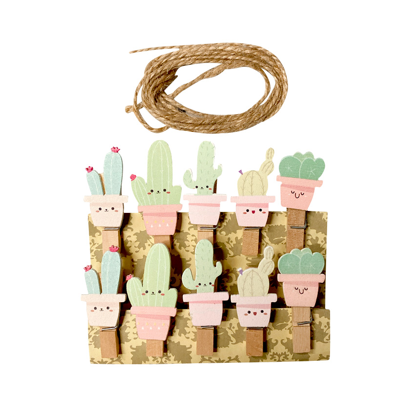 10pcs/pack Creative Pink Green Cactus Memo Paper Clips Photo Clips Clothespin Mini Wood Clips