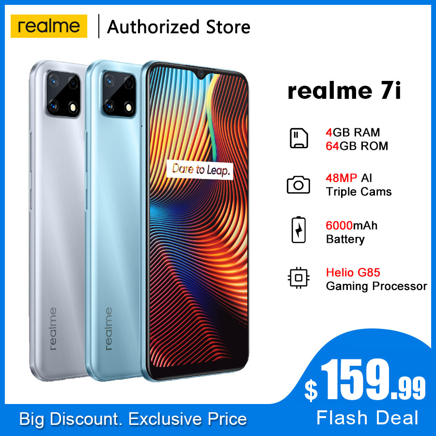 Realme 7i RMX2193 6.5 HD + 4GB 64GB 48MP AI üçlü kameralar Smartphone Helio G85 Octa çekirdek 18W hızlı şarj 6000mAh cep telefonu
