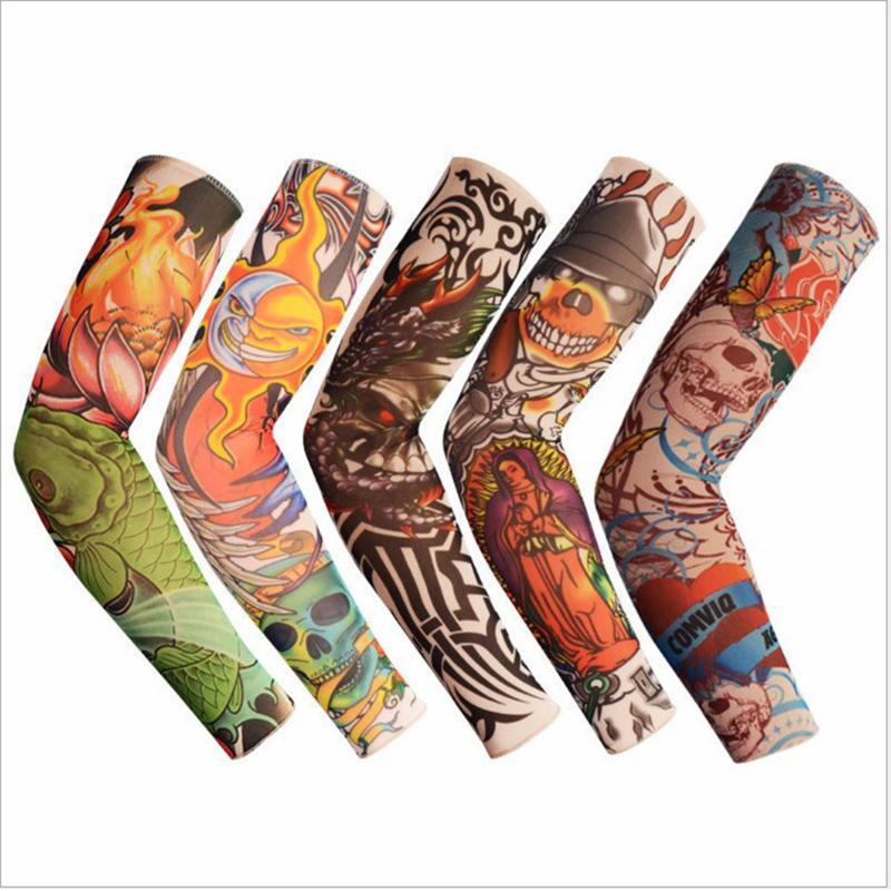 1pc Tattoo Print Skull Animal Arm Warmers Tattoo Sleeve For Men N Women Unisex Sleeve Summer Cool Cover Wrist Arm Cuff UV Sleeve