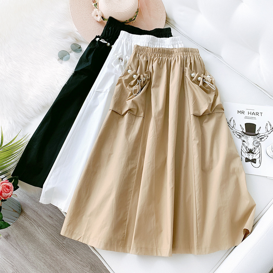 Pearls big pockets cotton long skirts womens A-line maxi Tooling modsi skirt women 2020 summer new arrival black white image