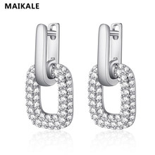 MAIKALE Round Korean Stud Earring Cubic Zirconia Fashion Earrings Classic Ear Jewelry For Women Holiday Gifts For Anniversary(China)