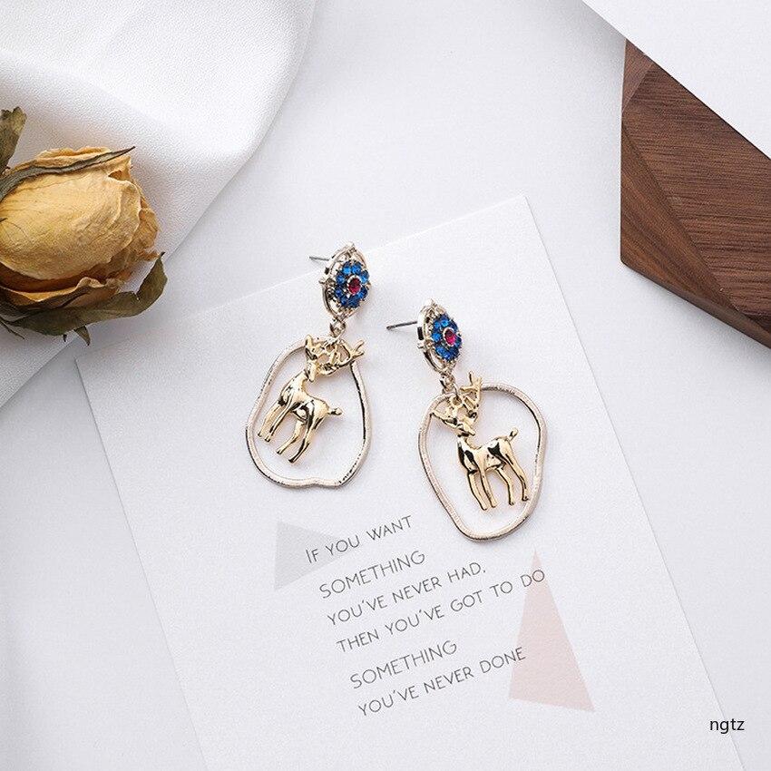 Japanese Korean Fashion Mori Flower Deer Irregular Elliptic Moose Retro Drop Earrings for Girl Cute Earrings for Women in Drop Earrings from Jewelry Accessories