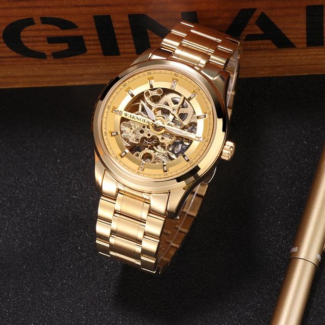 WAKNOER גברים של שעון מכאני חלול חיוג אופנה עיצוב Steampunk יוקרה גברים עמיד למים שלד אוטומטי שעון Relogios