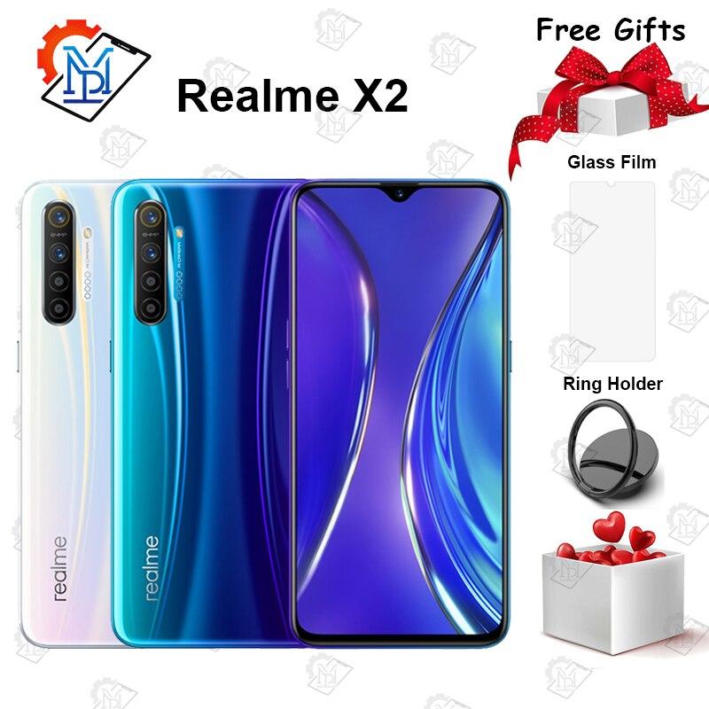 Original realme x2 celular 6.4 polegada super amoled tela 6 gb + 64 gb snapdragon 730g câmera 64.0mp quatro tiro nfc smartphone