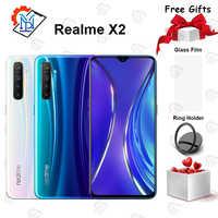 Téléphone portable Original Realme X2 6.4 pouces Super AMOLED écran 6GB + 64GB Snapdragon 730G caméra 64.0MP quatre plans Smartphone NFC