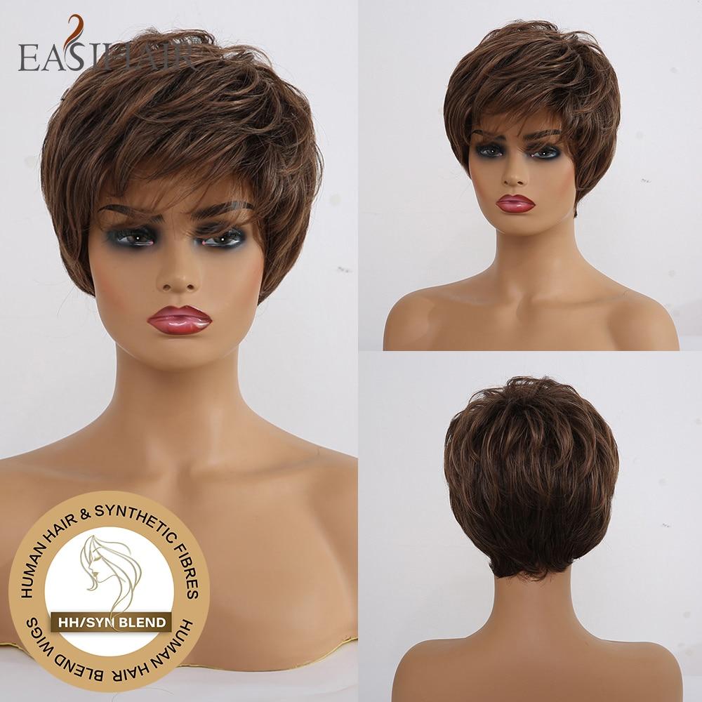 Perruques synthétiques à frange courtes et brunes foncées | Perruques Afro mixtes de cheveux naturels à haute densité pour femmes