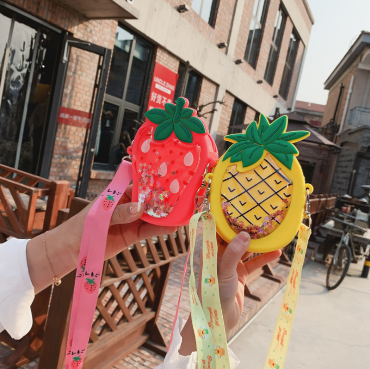 Cute Toddler Baby Pineapple Messenger Bag Children Kids Girls Princess Shoulder Bag Handbag Solid Princess Coin Purses